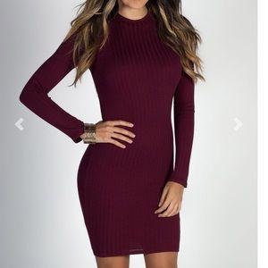 Sexy maroon sweater dress